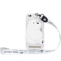 White Polar Bear Neck Lanyard Zipper Wallet Silicone Case for Xiaomi Redmi 5A