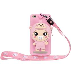 Pink Pig Neck Lanyard Zipper Wallet Silicone Case for Xiaomi Redmi 5A