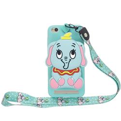 Blue Elephant Neck Lanyard Zipper Wallet Silicone Case for Xiaomi Redmi 5A