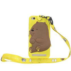 Yellow Bear Neck Lanyard Zipper Wallet Silicone Case for Xiaomi Redmi 5A