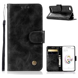 Luxury Retro Leather Wallet Case for Xiaomi Redmi 5A - Black