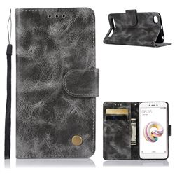 Luxury Retro Leather Wallet Case for Xiaomi Redmi 5A - Gray
