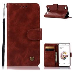 Luxury Retro Leather Wallet Case for Xiaomi Redmi 5A - Wine Red