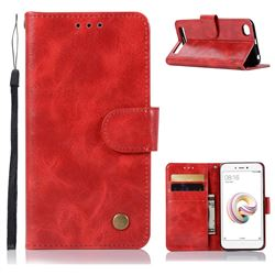Luxury Retro Leather Wallet Case for Xiaomi Redmi 5A - Red