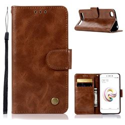 Luxury Retro Leather Wallet Case for Xiaomi Redmi 5A - Brown
