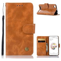 Luxury Retro Leather Wallet Case for Xiaomi Redmi 5A - Golden