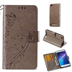 Embossing Butterfly Flower Leather Wallet Case for Xiaomi Redmi 5A - Grey