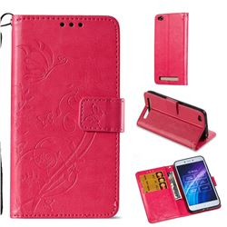 Embossing Butterfly Flower Leather Wallet Case for Xiaomi Redmi 5A - Rose