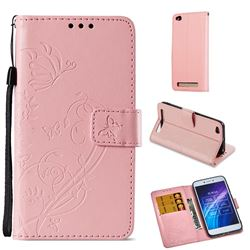 Embossing Butterfly Flower Leather Wallet Case for Xiaomi Redmi 5A - Pink