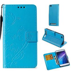 Embossing Butterfly Flower Leather Wallet Case for Xiaomi Redmi 5A - Blue