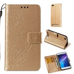 Embossing Butterfly Flower Leather Wallet Case for Xiaomi Redmi 5A - Champagne