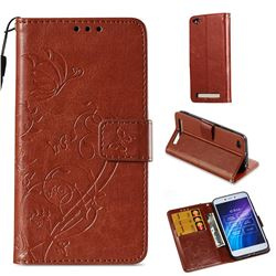 Embossing Butterfly Flower Leather Wallet Case for Xiaomi Redmi 5A - Brown