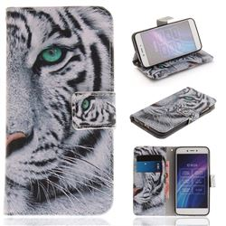 White Tiger PU Leather Wallet Case for Xiaomi Redmi 5A