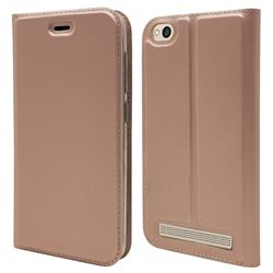 Ultra Slim Card Magnetic Automatic Suction Leather Wallet Case for Xiaomi Redmi 5A - Rose Gold