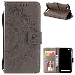 Intricate Embossing Datura Leather Wallet Case for Xiaomi Redmi 5A - Gray
