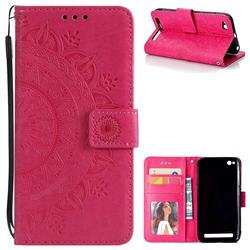 Intricate Embossing Datura Leather Wallet Case for Xiaomi Redmi 5A - Rose Red