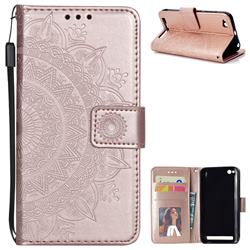 Intricate Embossing Datura Leather Wallet Case for Xiaomi Redmi 5A - Rose Gold