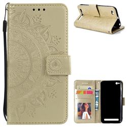 Intricate Embossing Datura Leather Wallet Case for Xiaomi Redmi 5A - Golden