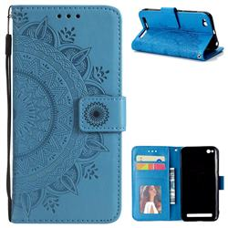 Intricate Embossing Datura Leather Wallet Case for Xiaomi Redmi 5A - Blue