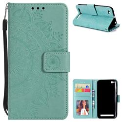 Intricate Embossing Datura Leather Wallet Case for Xiaomi Redmi 5A - Mint Green