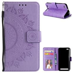 Intricate Embossing Datura Leather Wallet Case for Xiaomi Redmi 5A - Purple
