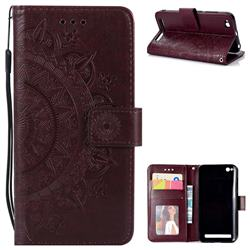 Intricate Embossing Datura Leather Wallet Case for Xiaomi Redmi 5A - Brown