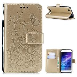 Intricate Embossing Butterfly Circle Leather Wallet Case for Xiaomi Redmi 5A - Champagne