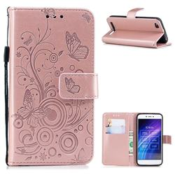 Intricate Embossing Butterfly Circle Leather Wallet Case for Xiaomi Redmi 5A - Rose Gold