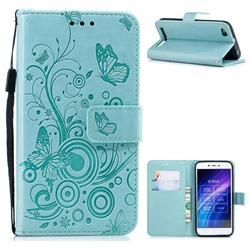 Intricate Embossing Butterfly Circle Leather Wallet Case for Xiaomi Redmi 5A - Cyan