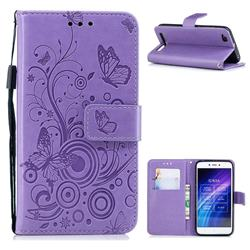 Intricate Embossing Butterfly Circle Leather Wallet Case for Xiaomi Redmi 5A - Purple