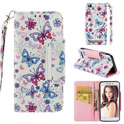 Colored Butterfly Big Metal Buckle PU Leather Wallet Phone Case for Xiaomi Redmi 5A
