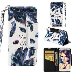 Peacock Feather Big Metal Buckle PU Leather Wallet Phone Case for Xiaomi Redmi 5A