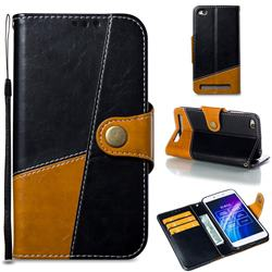 Retro Magnetic Stitching Wallet Flip Cover for Xiaomi Redmi 5A - Black