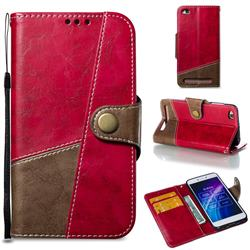 Retro Magnetic Stitching Wallet Flip Cover for Xiaomi Redmi 5A - Rose Red