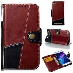 Retro Magnetic Stitching Wallet Flip Cover for Xiaomi Redmi 5A - Dark Red
