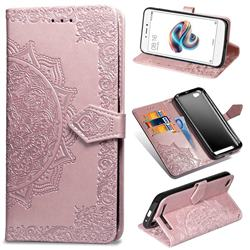 Embossing Imprint Mandala Flower Leather Wallet Case for Xiaomi Redmi 5A - Rose Gold