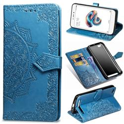 Embossing Imprint Mandala Flower Leather Wallet Case for Xiaomi Redmi 5A - Blue