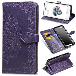 Embossing Imprint Mandala Flower Leather Wallet Case for Xiaomi Redmi 5A - Purple