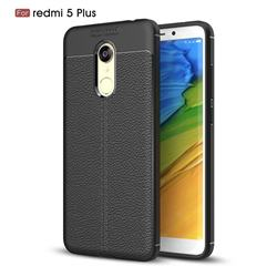 Luxury Auto Focus Litchi Texture Silicone TPU Back Cover for Mi Xiaomi Redmi 5 Plus - Black