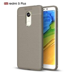 Luxury Auto Focus Litchi Texture Silicone TPU Back Cover for Mi Xiaomi Redmi 5 Plus - Gray