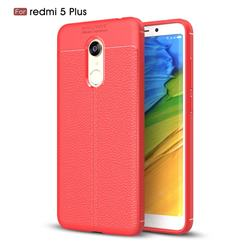 Luxury Auto Focus Litchi Texture Silicone TPU Back Cover for Mi Xiaomi Redmi 5 Plus - Red