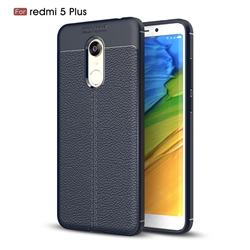 Luxury Auto Focus Litchi Texture Silicone TPU Back Cover for Mi Xiaomi Redmi 5 Plus - Dark Blue