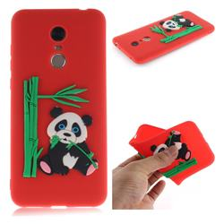 Panda Eating Bamboo Soft 3D Silicone Case for Mi Xiaomi Redmi 5 Plus - Red