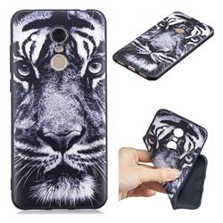 White Tiger 3D Embossed Relief Black TPU Cell Phone Back Cover for Mi Xiaomi Redmi 5 Plus