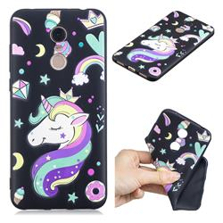 Candy Unicorn 3D Embossed Relief Black TPU Cell Phone Back Cover for Mi Xiaomi Redmi 5 Plus