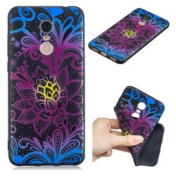 Colorful Lace 3D Embossed Relief Black TPU Cell Phone Back Cover for Mi Xiaomi Redmi 5 Plus