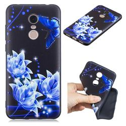 Blue Butterfly 3D Embossed Relief Black TPU Cell Phone Back Cover for Mi Xiaomi Redmi 5 Plus
