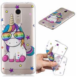Glasses Unicorn Clear Varnish Soft Phone Back Cover for Mi Xiaomi Redmi 5 Plus