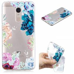 Gem Flower Clear Varnish Soft Phone Back Cover for Mi Xiaomi Redmi 5 Plus