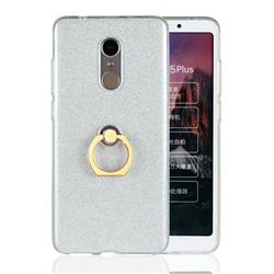 Luxury Soft TPU Glitter Back Ring Cover with 360 Rotate Finger Holder Buckle for Mi Xiaomi Redmi 5 Plus - White